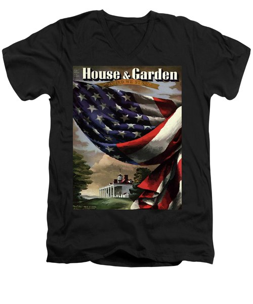 A House And Garden Cover Of An American Flag Men's V-Neck T-Shirt