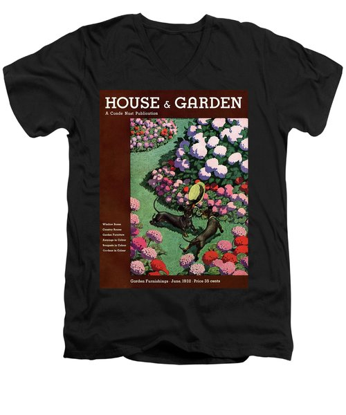 A House And Garden Cover Of Dachshunds With A Hat Men's V-Neck T-Shirt