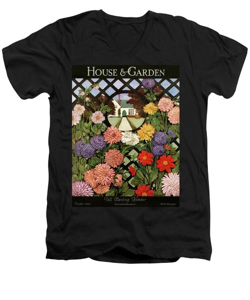 A House And Garden Cover Of Flowers Men's V-Neck T-Shirt