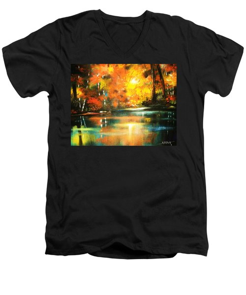 Men's V-Neck T-Shirt featuring the painting A Light In The Forest by Al Brown