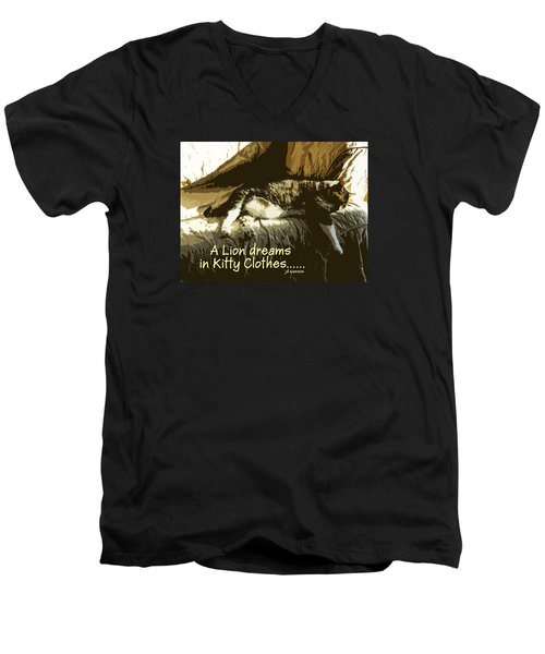 A Lion Dreams.... Men's V-Neck T-Shirt