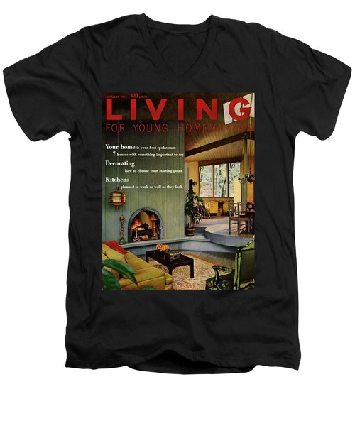A Living Room With Sherwin-williams Wood-paneling Men's V-Neck T-Shirt