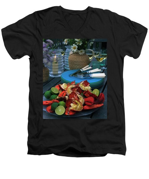 A Meal With Lobster And Limes Men's V-Neck T-Shirt