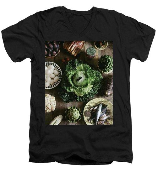 A Mixed Variety Of Food And Ceramic Imitations Men's V-Neck T-Shirt