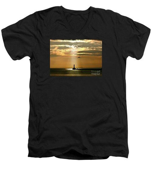 Roker Pier Sunderland Men's V-Neck T-Shirt by Morag Bates