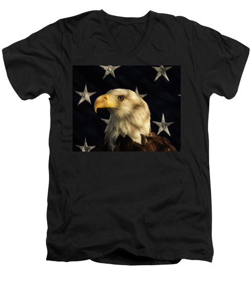 Men's V-Neck T-Shirt featuring the photograph A Patriot by Raymond Salani III