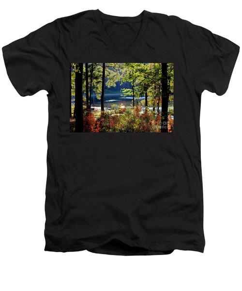 A Peek At Lake O The Pines Men's V-Neck T-Shirt by Kathy  White