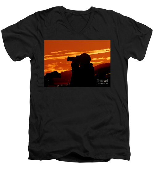 Men's V-Neck T-Shirt featuring the photograph A Photographer Enjoying His Work by Kathy Baccari