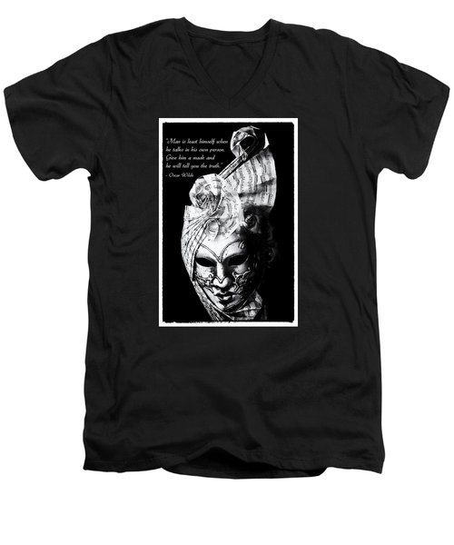 A Picture Of A Venitian Mask Accompanied By An Oscar Wilde Quote Men's V-Neck T-Shirt