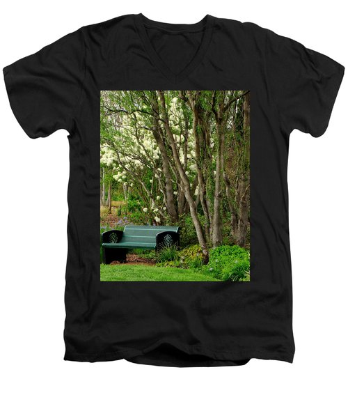 Men's V-Neck T-Shirt featuring the photograph A Place To Sit by Rodney Lee Williams