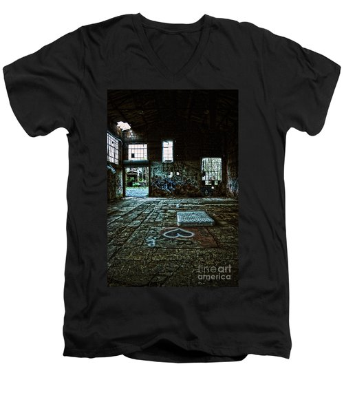 Men's V-Neck T-Shirt featuring the photograph A Place With Heart by Debra Fedchin