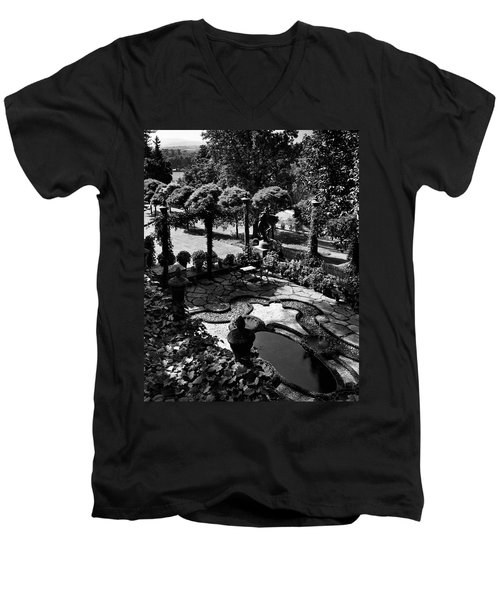 A Pond In An Ornamental Garden Men's V-Neck T-Shirt