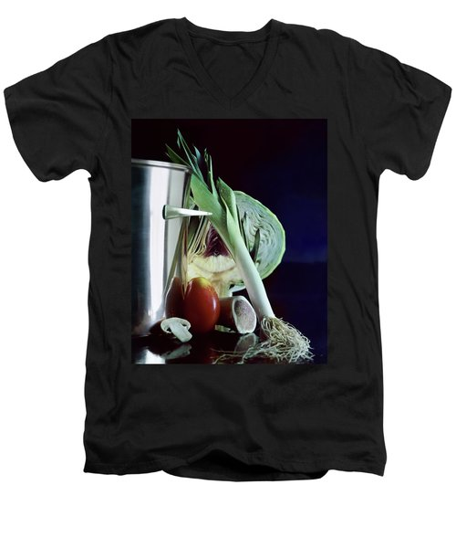 A Pot With Assorted Vegetables Men's V-Neck T-Shirt