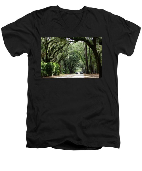 A Pretty Tree Covered Road Somewhere On Hilton Head Island Men's V-Neck T-Shirt