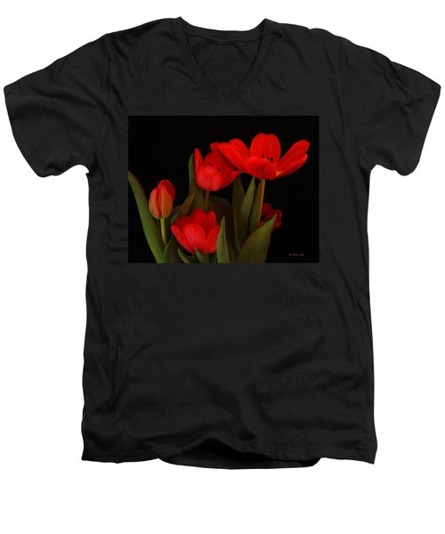A Red Tulip Day Men's V-Neck T-Shirt