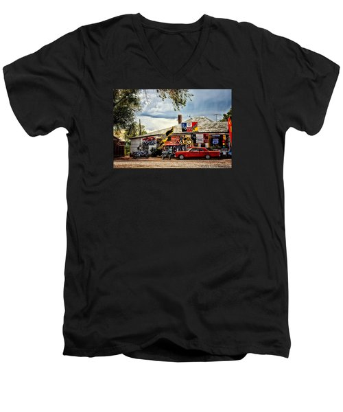 A Ride On Route 66 Men's V-Neck T-Shirt by Tricia Marchlik