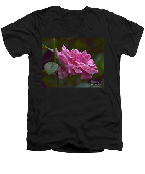 A Rose Is A Rose Men's V-Neck T-Shirt by Carol  Bradley