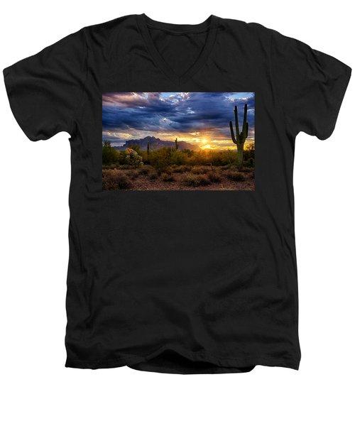 A Sonoran Desert Sunrise Men's V-Neck T-Shirt by Saija  Lehtonen