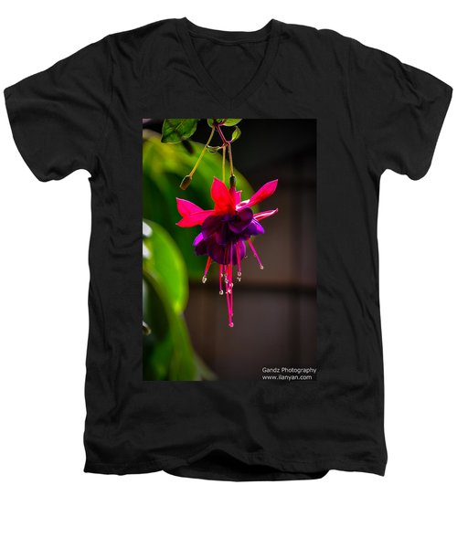 A Special Red Flower  Men's V-Neck T-Shirt by Gandz Photography