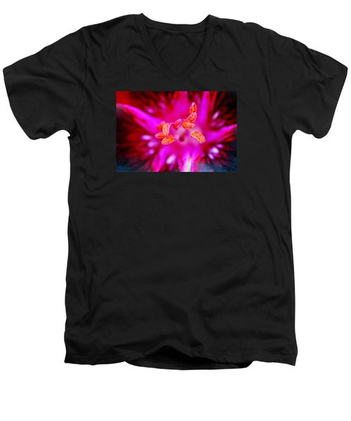 Men's V-Neck T-Shirt featuring the photograph A Splash Of Colour by Wendy Wilton