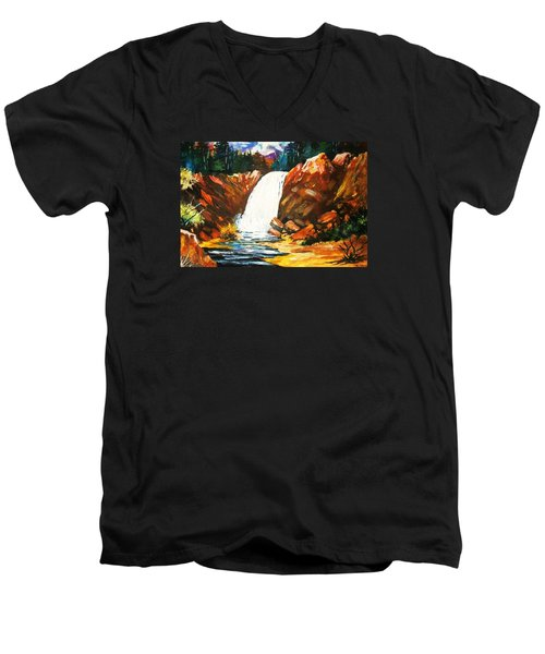 Men's V-Neck T-Shirt featuring the painting A Spout In The Forest by Al Brown