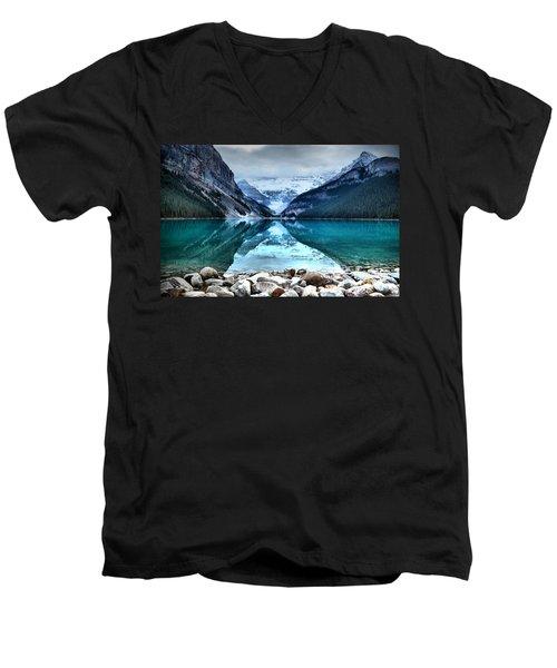 A Still Day At Lake Louise Men's V-Neck T-Shirt
