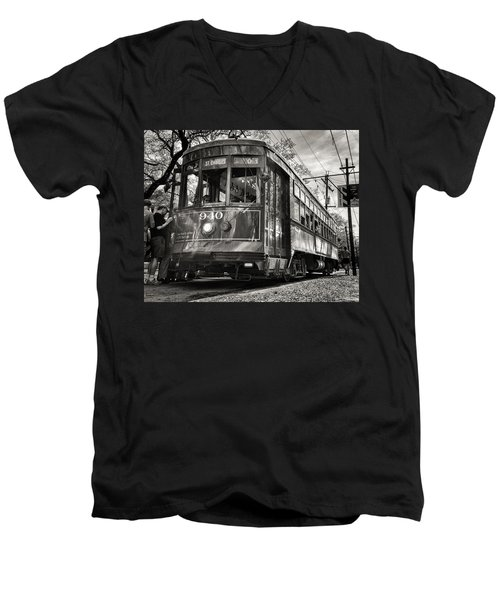 A Streetcar Named St Charles Men's V-Neck T-Shirt