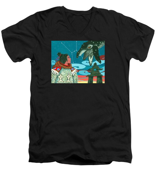 Men's V-Neck T-Shirt featuring the painting A Study For Whale Dreamer by Chholing Taha
