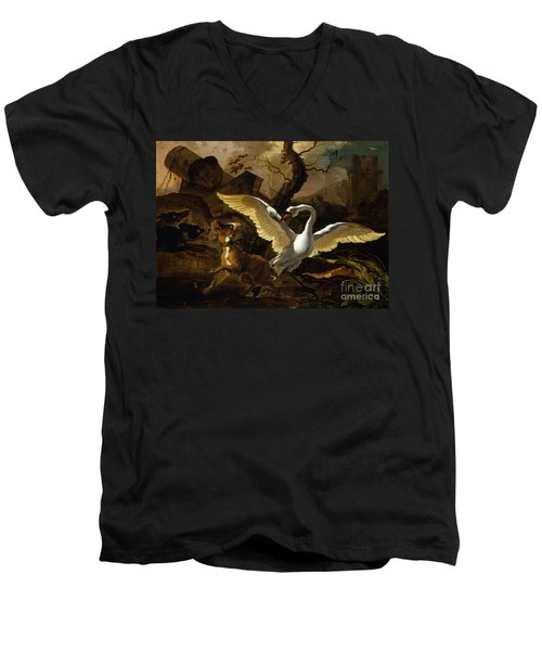 A Swan Enraged By Hondius Men's V-Neck T-Shirt