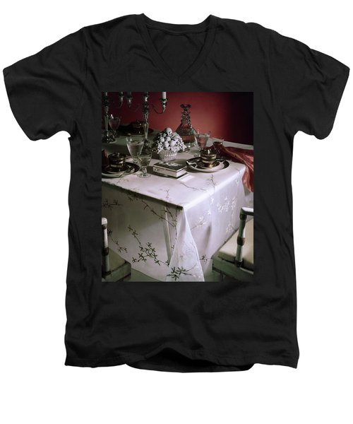 A Table Set With Delicate Tableware Men's V-Neck T-Shirt