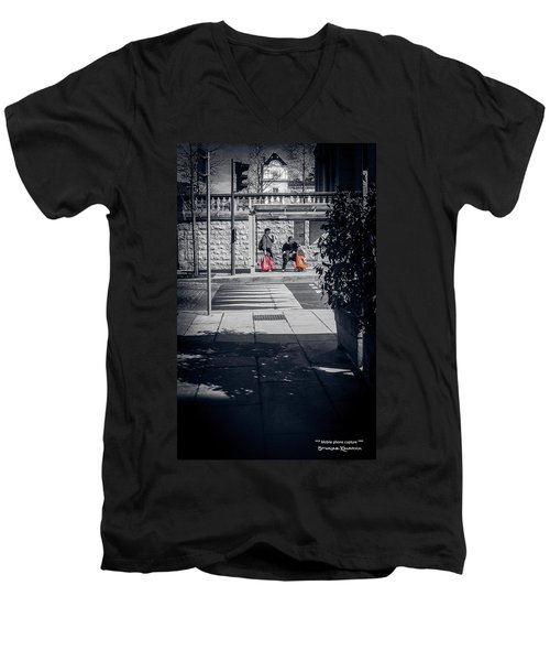 Men's V-Neck T-Shirt featuring the photograph A Very Long Waiting Day by Stwayne Keubrick