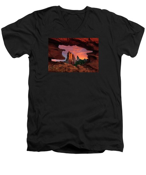 A View Through Window Rock At Siamese Twins Men's V-Neck T-Shirt