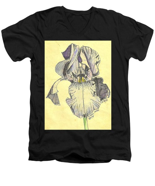 Men's V-Neck T-Shirt featuring the photograph A Wild Lavender Louisiana Iris by Michael Hoard
