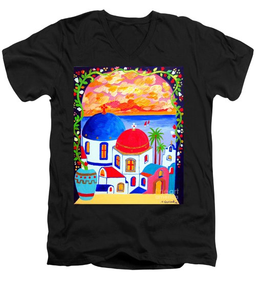 Men's V-Neck T-Shirt featuring the painting A Window Over Santorini by Roberto Gagliardi