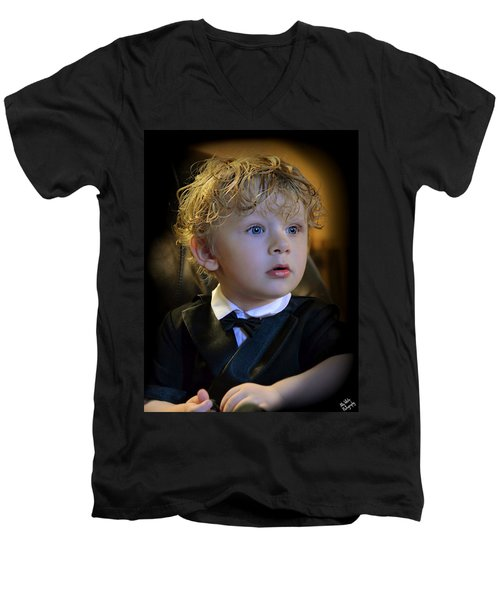 Men's V-Neck T-Shirt featuring the photograph A Young Gentleman by Ally  White