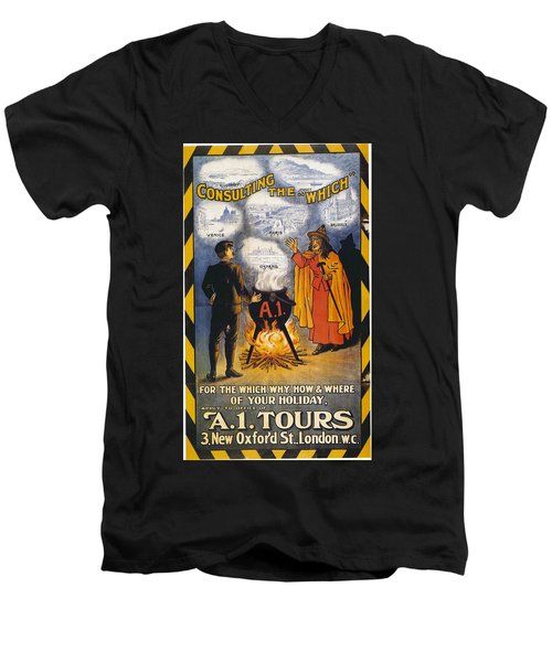 Men's V-Neck T-Shirt featuring the photograph A1 Tours Vintage Travel Poster by Gianfranco Weiss