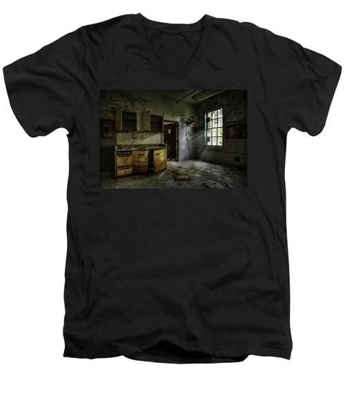 Men's V-Neck T-Shirt featuring the photograph Abandoned Building - Old Asylum - Open Cabinet Doors by Gary Heller