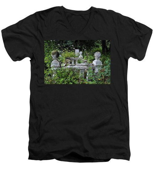 Men's V-Neck T-Shirt featuring the photograph Abandoned Cemetery 2 by Cathy Mahnke