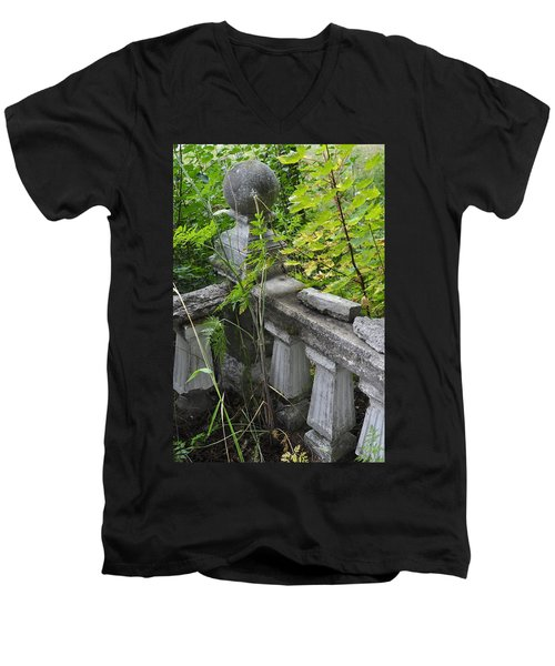 Men's V-Neck T-Shirt featuring the photograph Abandoned Cemetery by Cathy Mahnke