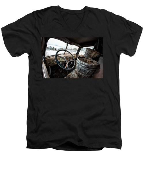 Men's V-Neck T-Shirt featuring the photograph Abandoned Chevrolet Truck - Inside Out by Gary Heller