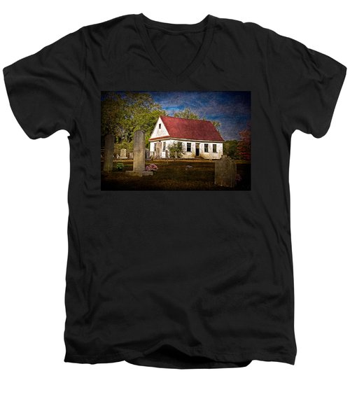 Abandoned Church And Graves Men's V-Neck T-Shirt