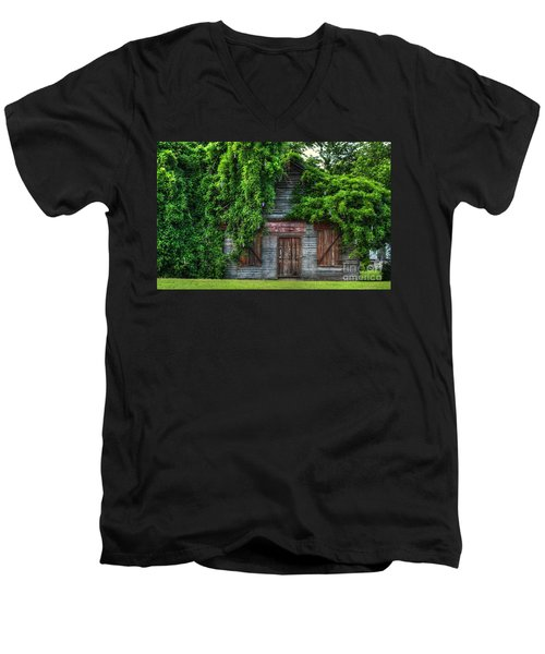Men's V-Neck T-Shirt featuring the photograph Abandoned by Kathy Baccari