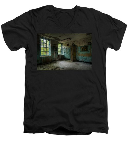 Men's V-Neck T-Shirt featuring the photograph Abandoned Places - Asylum - Old Windows - Waiting Room by Gary Heller