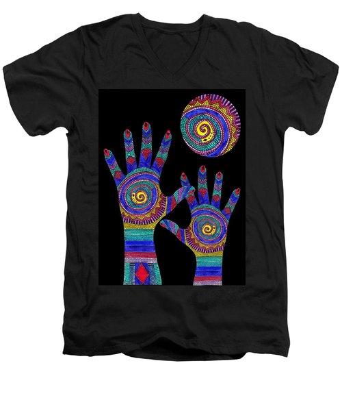 Aboriginal Hands To The Sun Men's V-Neck T-Shirt
