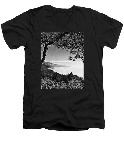 Men's V-Neck T-Shirt featuring the photograph Above Nepenthe In Big Sur by Joseph J Stevens