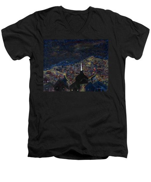 Above The City At Night Men's V-Neck T-Shirt