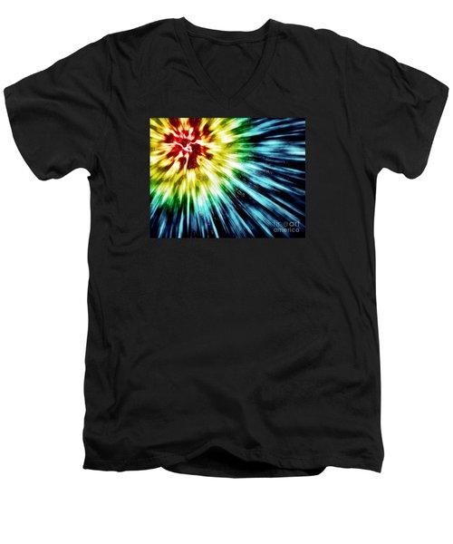 Abstract Dark Tie Dye Men's V-Neck T-Shirt