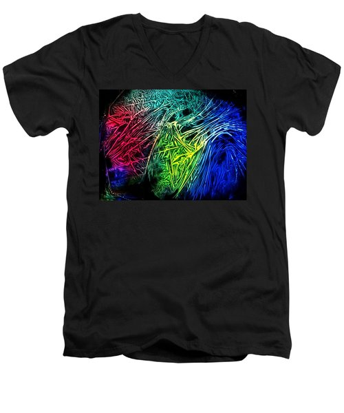 Men's V-Neck T-Shirt featuring the photograph Abstract Experimental Chemiluminescent Photography by David Mckinney