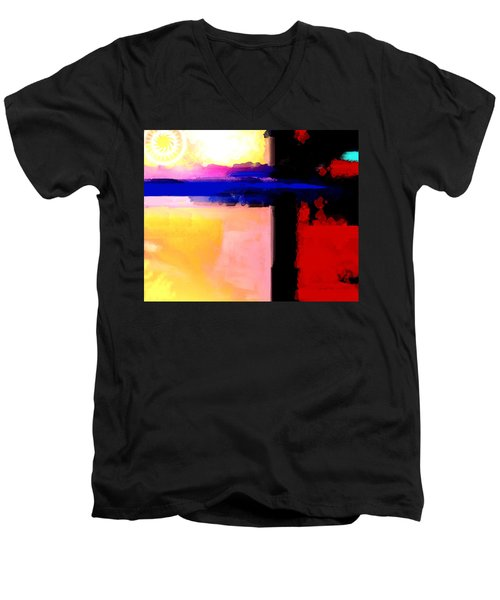 Men's V-Neck T-Shirt featuring the painting Abstract Impressions Of A Blue Horizon by Karon Melillo DeVega
