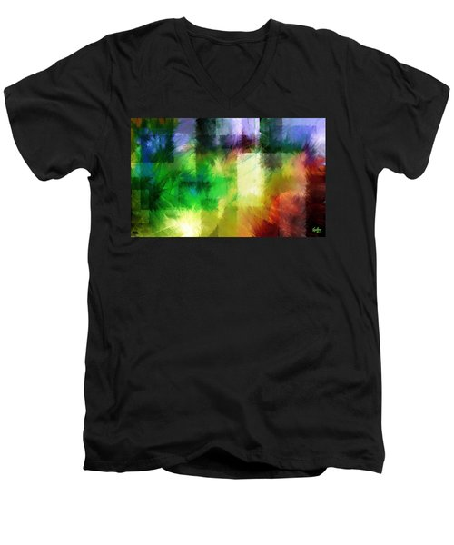 Men's V-Neck T-Shirt featuring the painting Abstract In Primary by Curtiss Shaffer